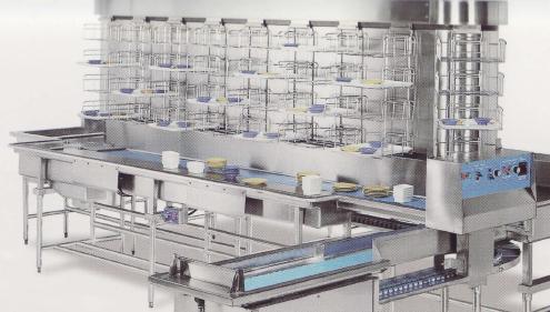 大型长龙式洗碗机回传式传送带